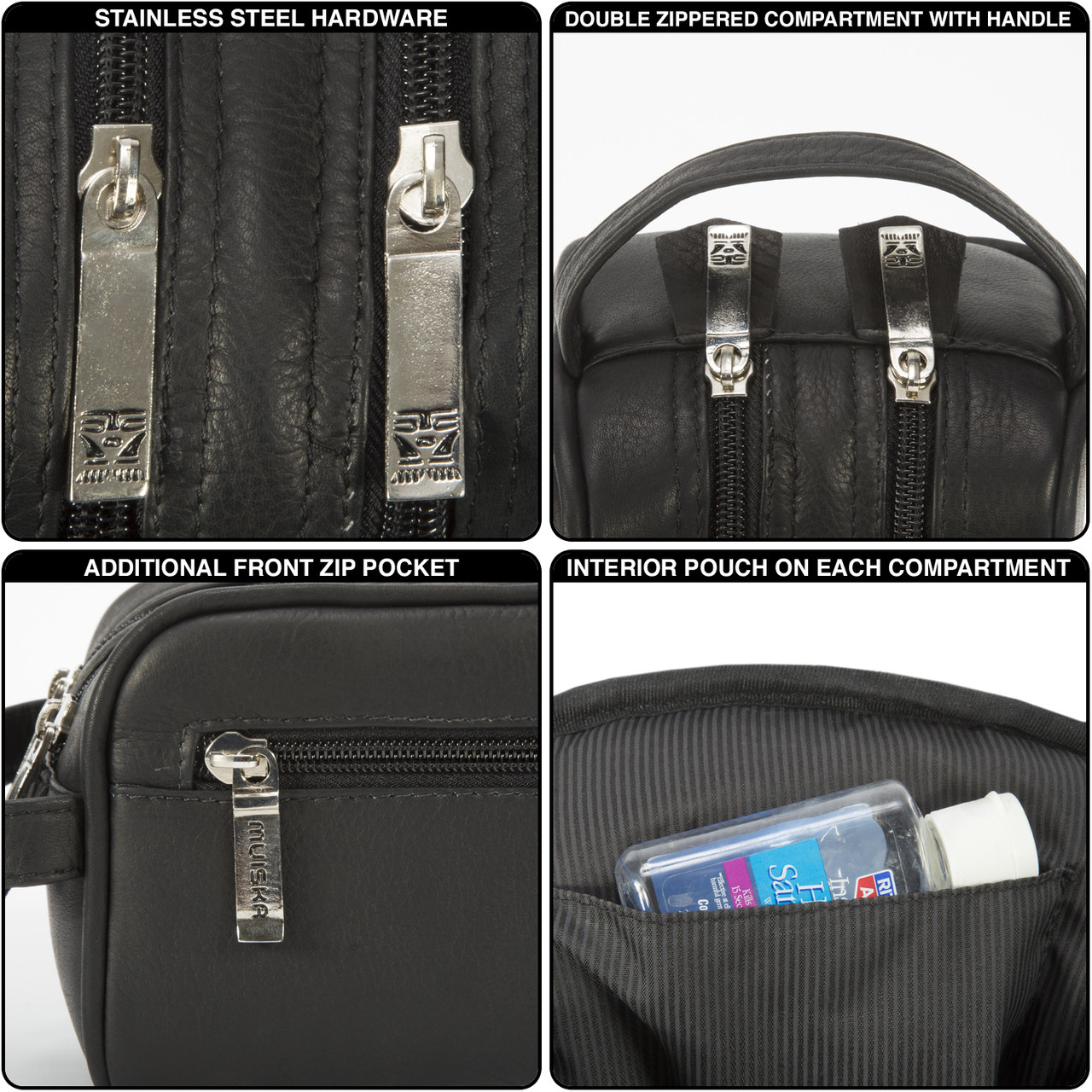 Muiska - Tomas - Double Zip Toiletry Bag has stainless steel hardware and double stitched seams