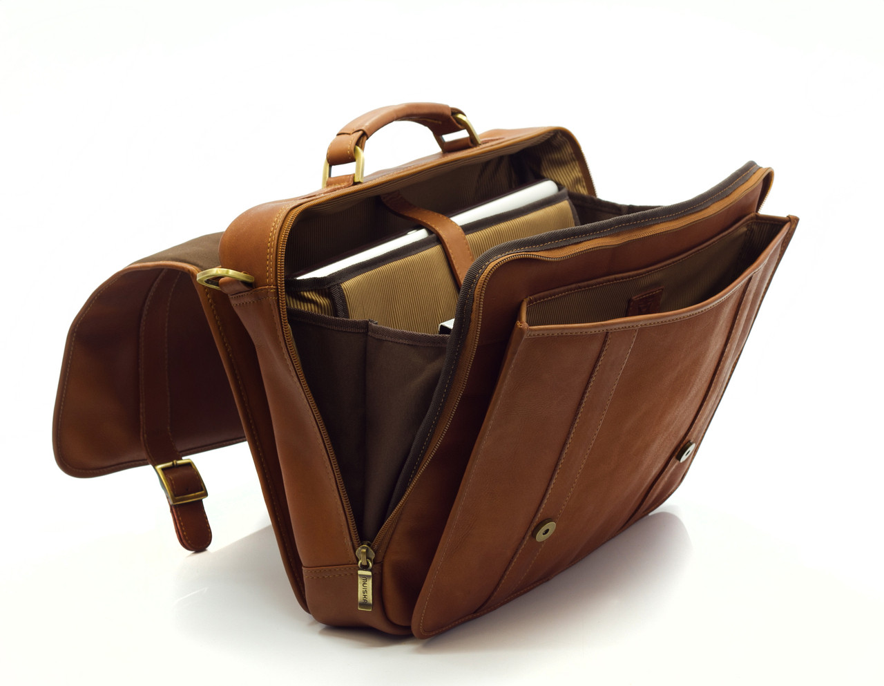 Muiska - Lucas - Colombian Leather Laptop Brief - ample storage space for files, documents and all your workday essentials