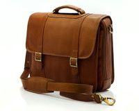 Muiska - Lucas - Colombian Leather Laptop Messenger Bag - Front View, Saddle