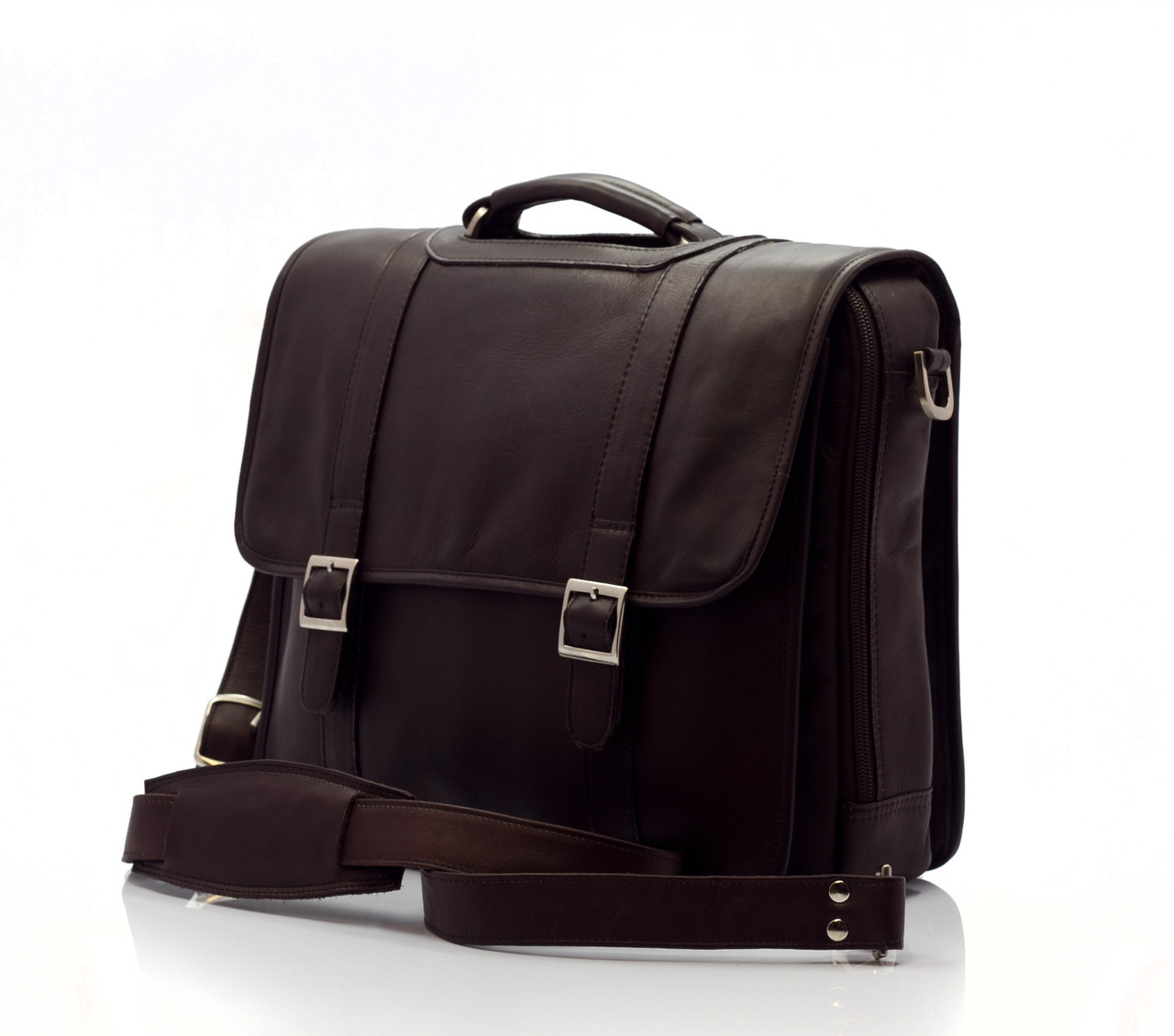 Muiska - Lucas - Colombian Leather Laptop Messenger Bag - Front View, Brown