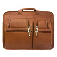 Muiska - Sydney - 17-inch Expandable Organizer Laptop Briefcase - Front View, Saddle