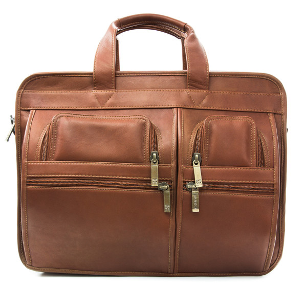 "Muiska - Madrid - 17"" Leather Triple Compartment Laptop Briefcase  - Front View, Saddle"