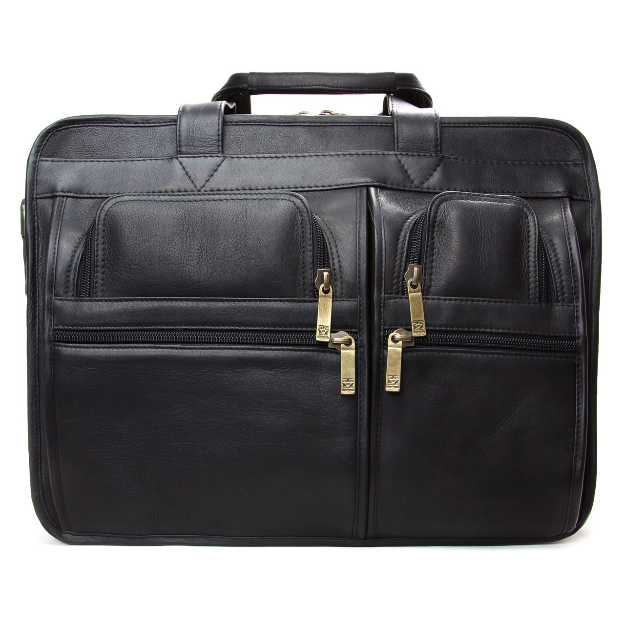 "Muiska - Madrid - 17"" Leather Triple Compartment Laptop Briefcase  - Front View, Black"