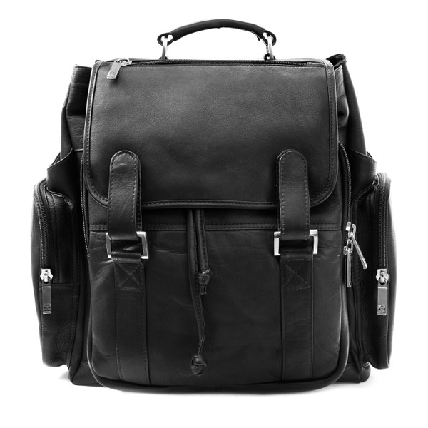 Muiska - Brooklyn - 17-inch Colombian Leather Laptop Backpack in Black