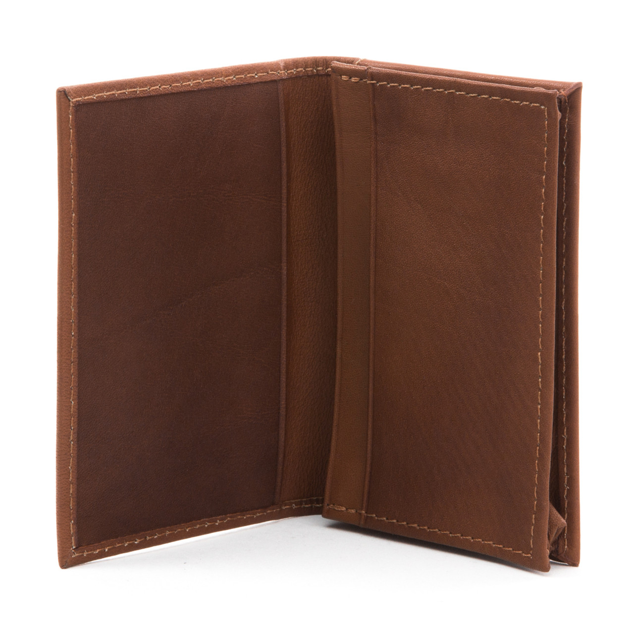 Carlo - Business and Credit Card Case Wallet - Open Front View, Saddle