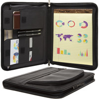 "Muiska - Prague - 8.5 x 11"" Executive Zippered Portfolio Organizer in Black"