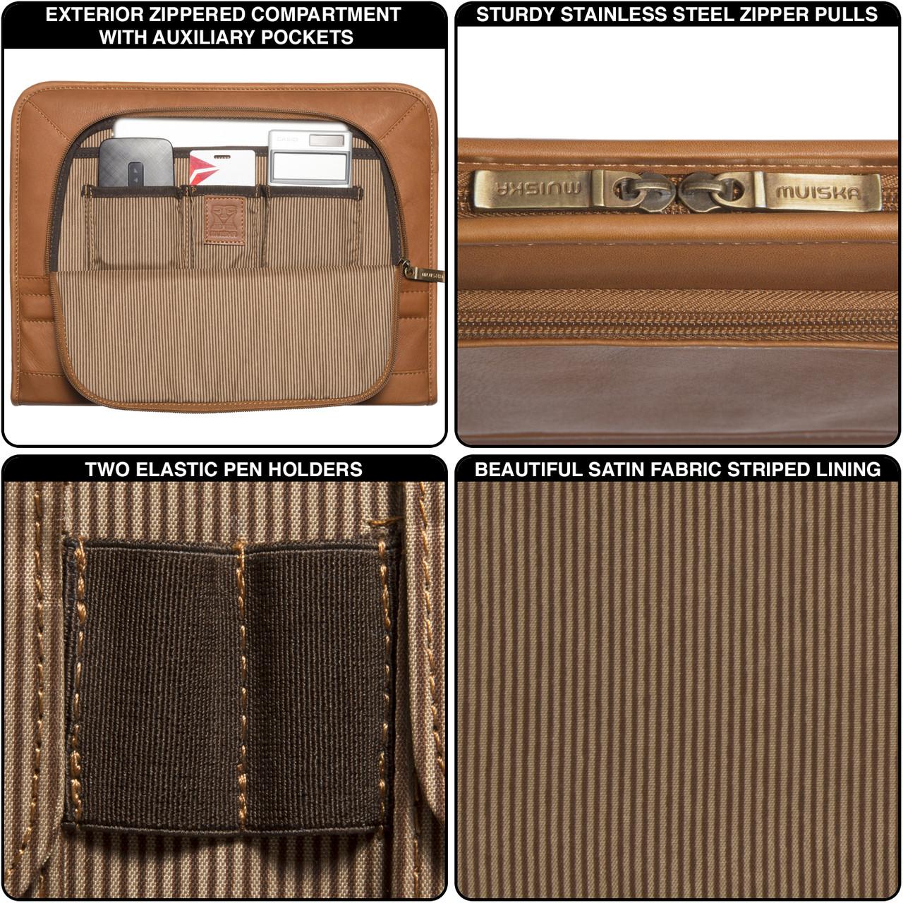 Muiska - Prague -  Leather Executive Portfolio has stainless steel rust resistant hardware