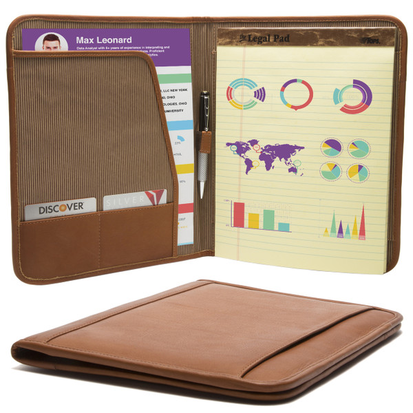 Muiska - Rome - 8.5 x 11-inch Leather Travel Business Writing Padfolio in Saddle