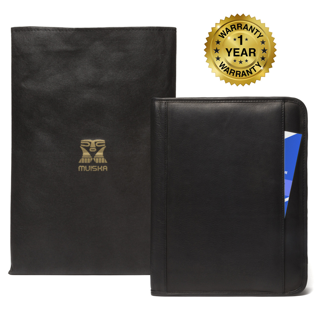 Muiska - Rome - 8.5 x 11-inch Leather professional folio comes with a protective dust bag.