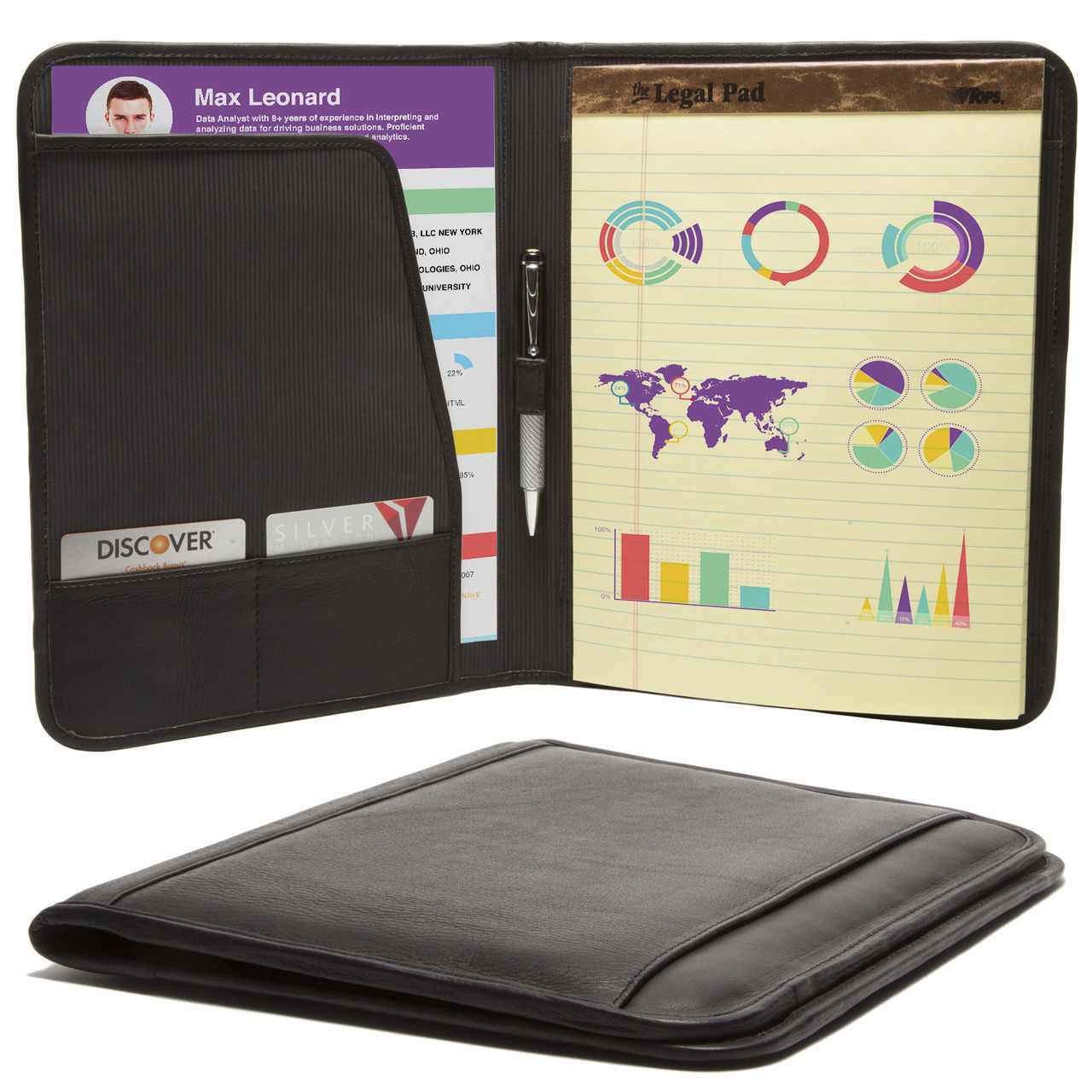 Muiska - Rome - 8.5 x 11-inch Leather Travel Business Writing Padfolio in Black