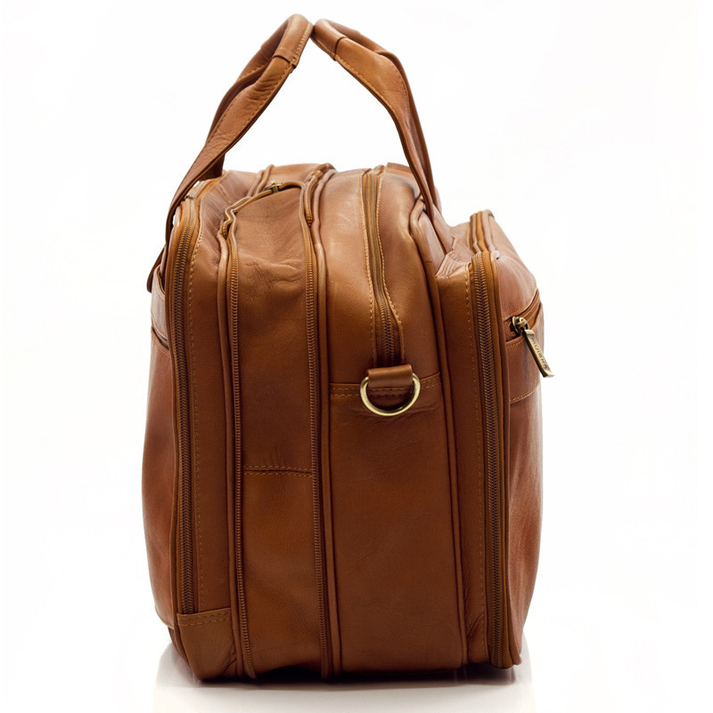 Muiska - Toronto - 17-inch Laptop Bag has a detachable all leather adjustable shoulder strap