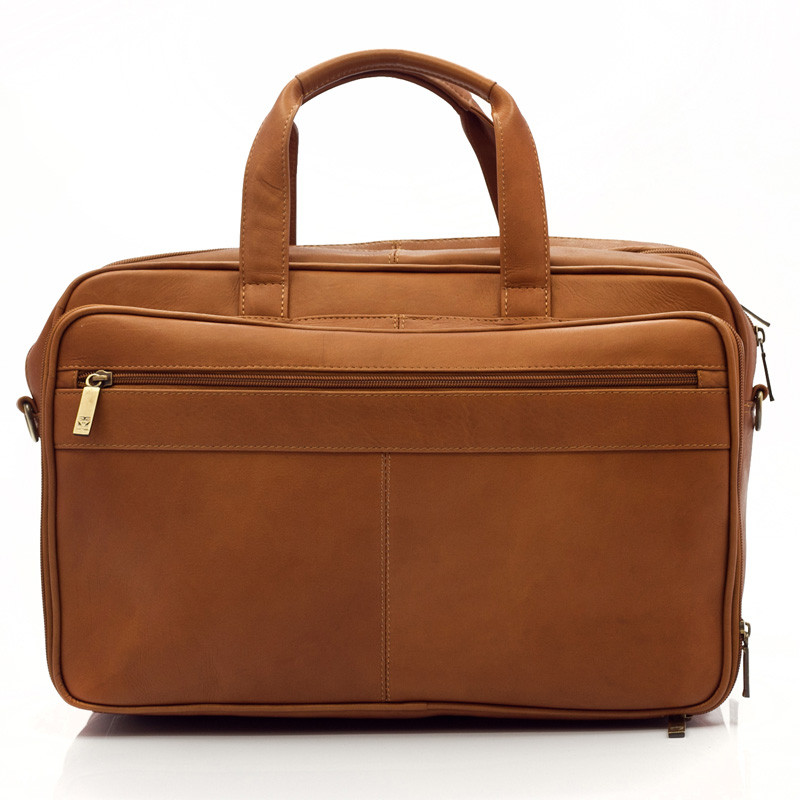 Muiska - Toronto - Expandable laptop briefcase has dual zipper on back to secure to the handle of carry-on luggage