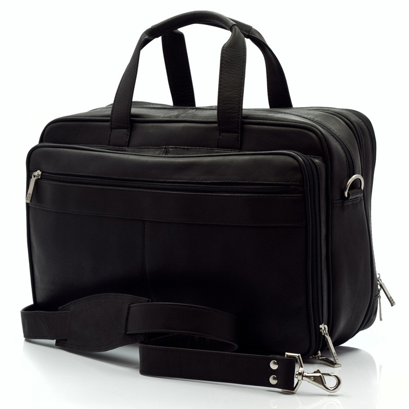 Muiska - Toronto - 17-inch Expandable Organizer Laptop Brief - Front View, Black