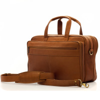 Muiska - Toronto - 17-inch Expandable Organizer Laptop Brief - Front View, Saddle