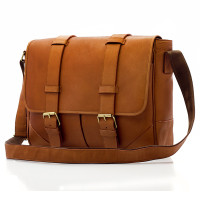 "Muiska - Dublin - Unisex 15"" Vaquetta Leather Laptop Messenger Bag - Front View, Saddle"