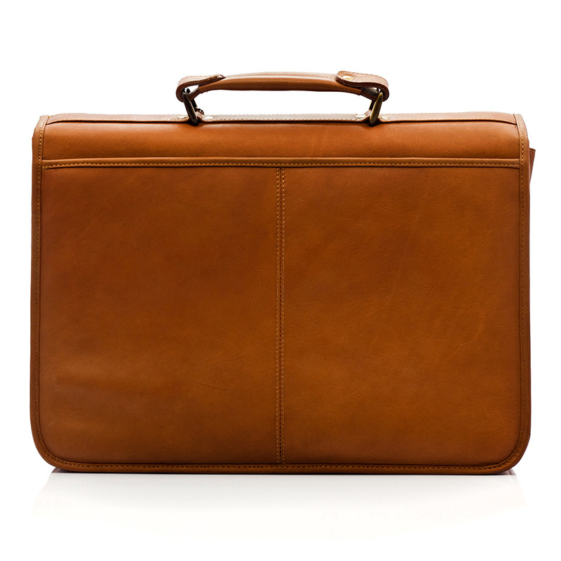 Bern - Flap over Computer Briefcase - Back View, Saddle