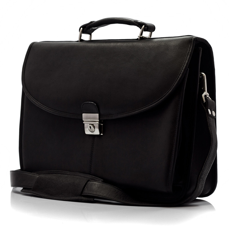 Bern - Flap over Computer Briefcase - Front View, Black