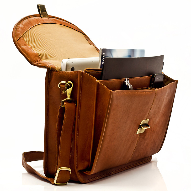 Bern - Flap over Computer Briefcase - Side Upper View, Saddle