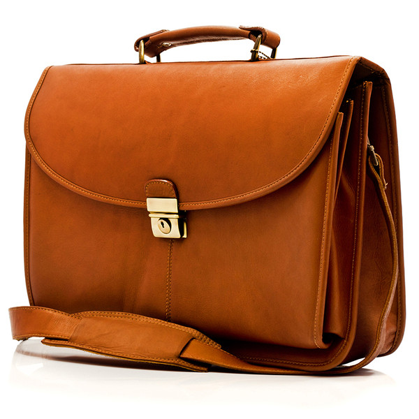 Bern - Flap over Computer Briefcase - Front View, Saddle