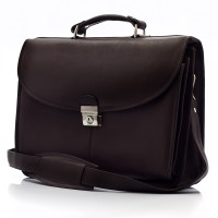 Bern - Flap over Computer Briefcase - Front View, Brown