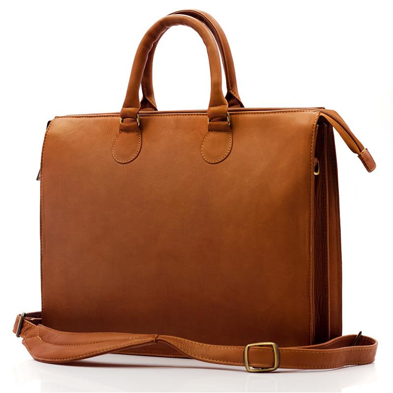 Muiska - Monica - Women's Slim Laptop Business Tote Bag - Front View, Saddle