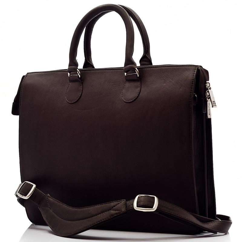 Muiska - Monica - Women's Slim Laptop Business Tote Bag - Front View, Brown