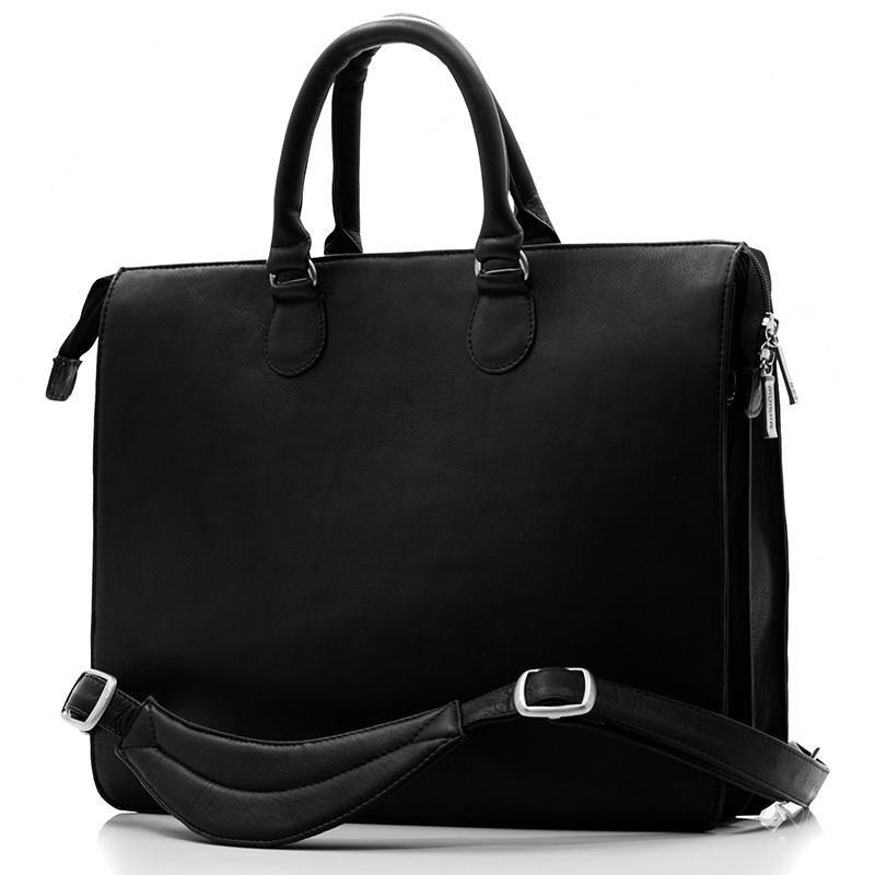 Muiska - Monica - Women's Slim Laptop Business Tote Bag - Front View, Black