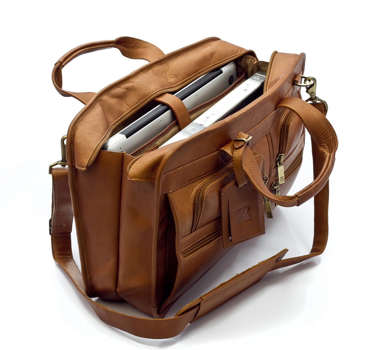 """Oslo - 17"""" Professional Computer Briefcase - Upper Open View, Saddle"""