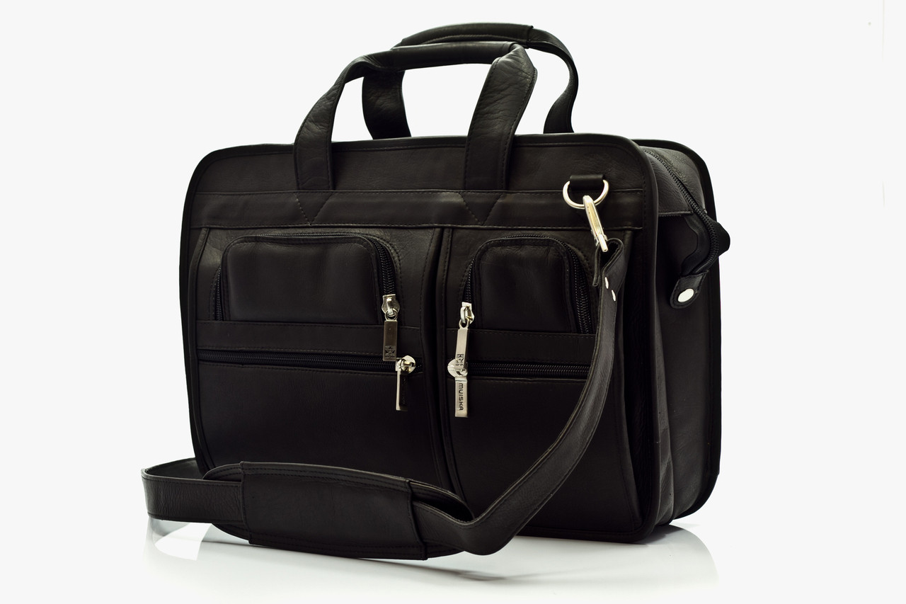 """Oslo - 17"""" Professional Computer Briefcase - Front View, Black"""
