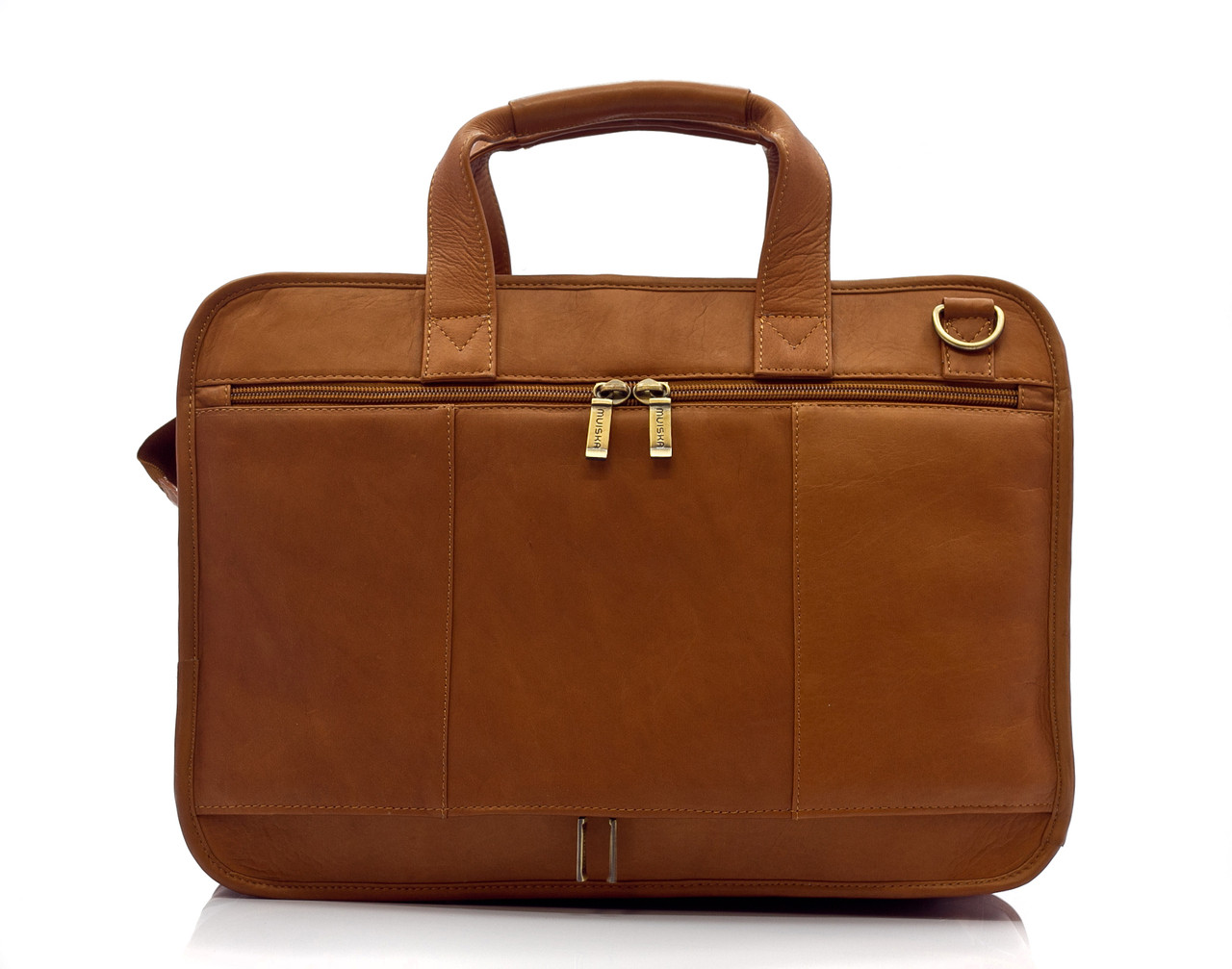 """Oslo - 17"""" Professional Computer Briefcase - Back View, Saddle"""