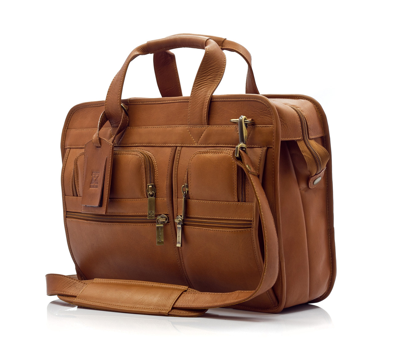 """Oslo - 17"""" Professional Computer Briefcase - Front View, Saddle"""