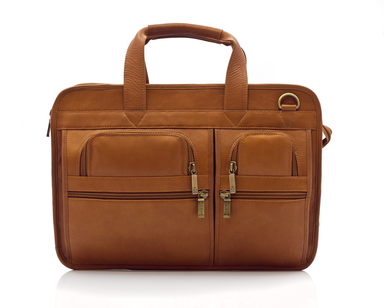 """Oslo - 17"""" Professional Computer Briefcase - Front View 2, Saddle"""
