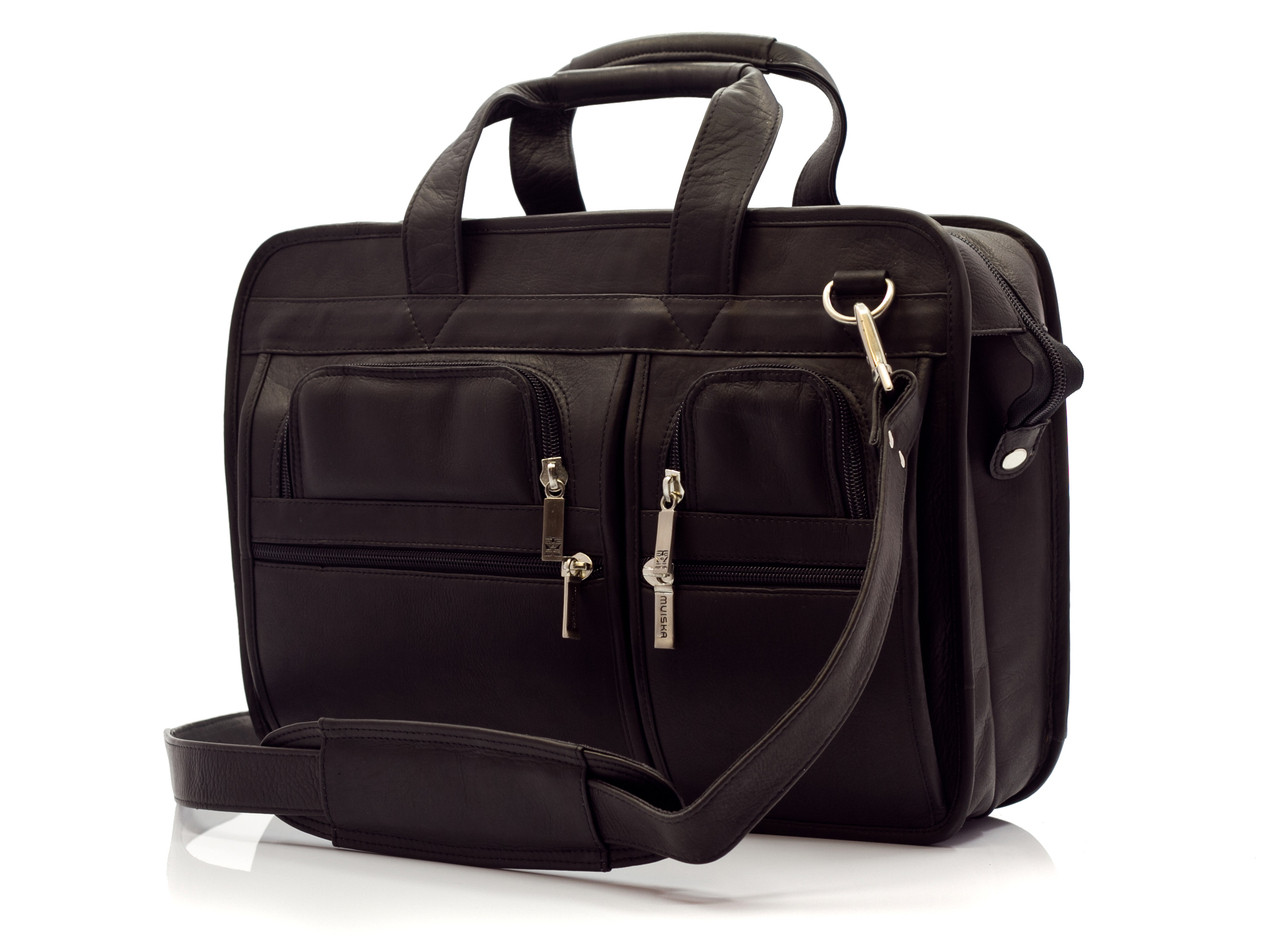 """Oslo - 17"""" Professional Computer Briefcase - Front View, Brown"""