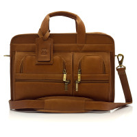 Muiska - New York - 17-inch Double Compartment Leather Laptop Briefcase - Front View, Saddle
