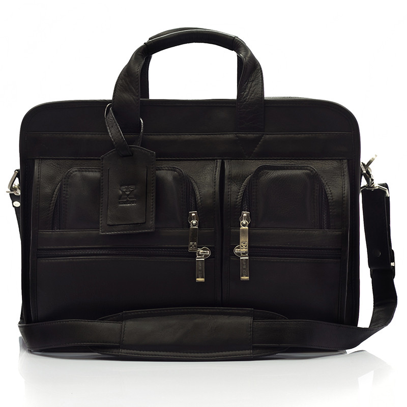 Muiska - New York - 17-inch Double Compartment Leather Laptop Briefcase - Front View, Black