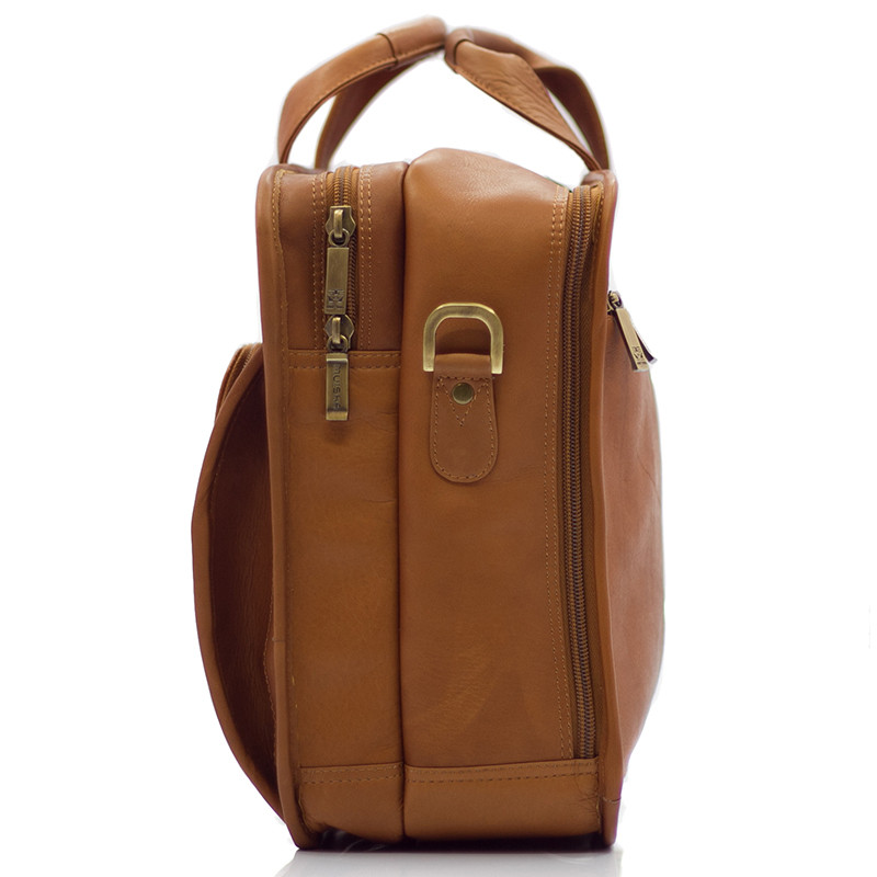 Muiska - New York - Leather Laptop Case - easy to transport with double padded top handles and an all leather adjustable strap
