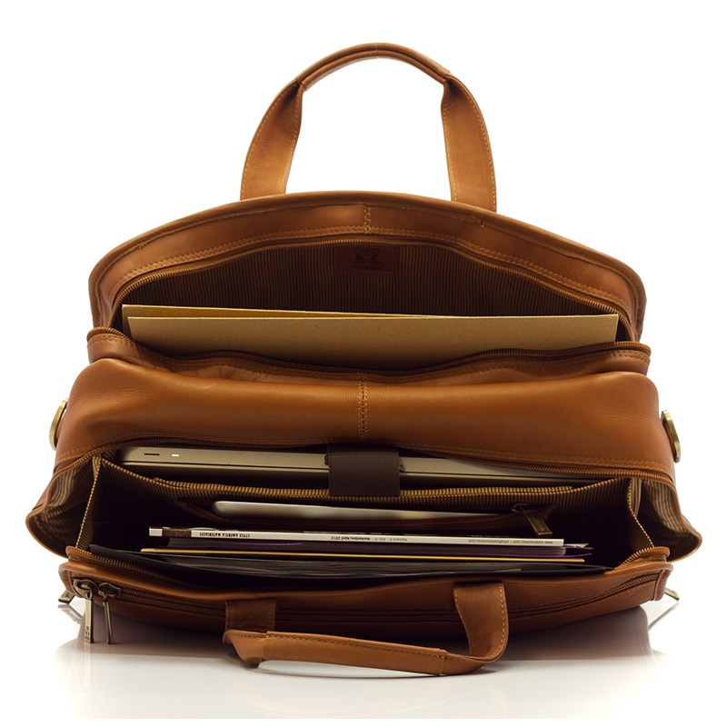 Muiska - New York - 17-inch Organizer Laptop Brief - Is spacious enough to fit a laptop, some magazines, a notebook, and some files