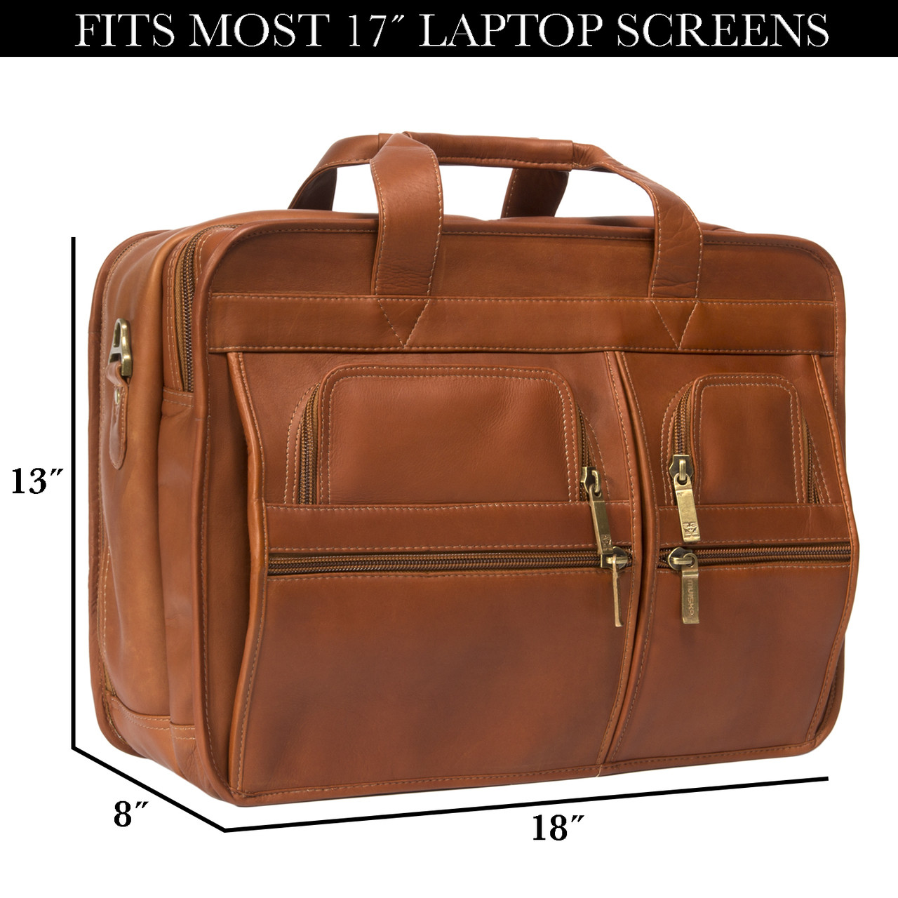 Muiska - New York - Double Compartment Leather Briefcase fits even the largest 17-inch laptops