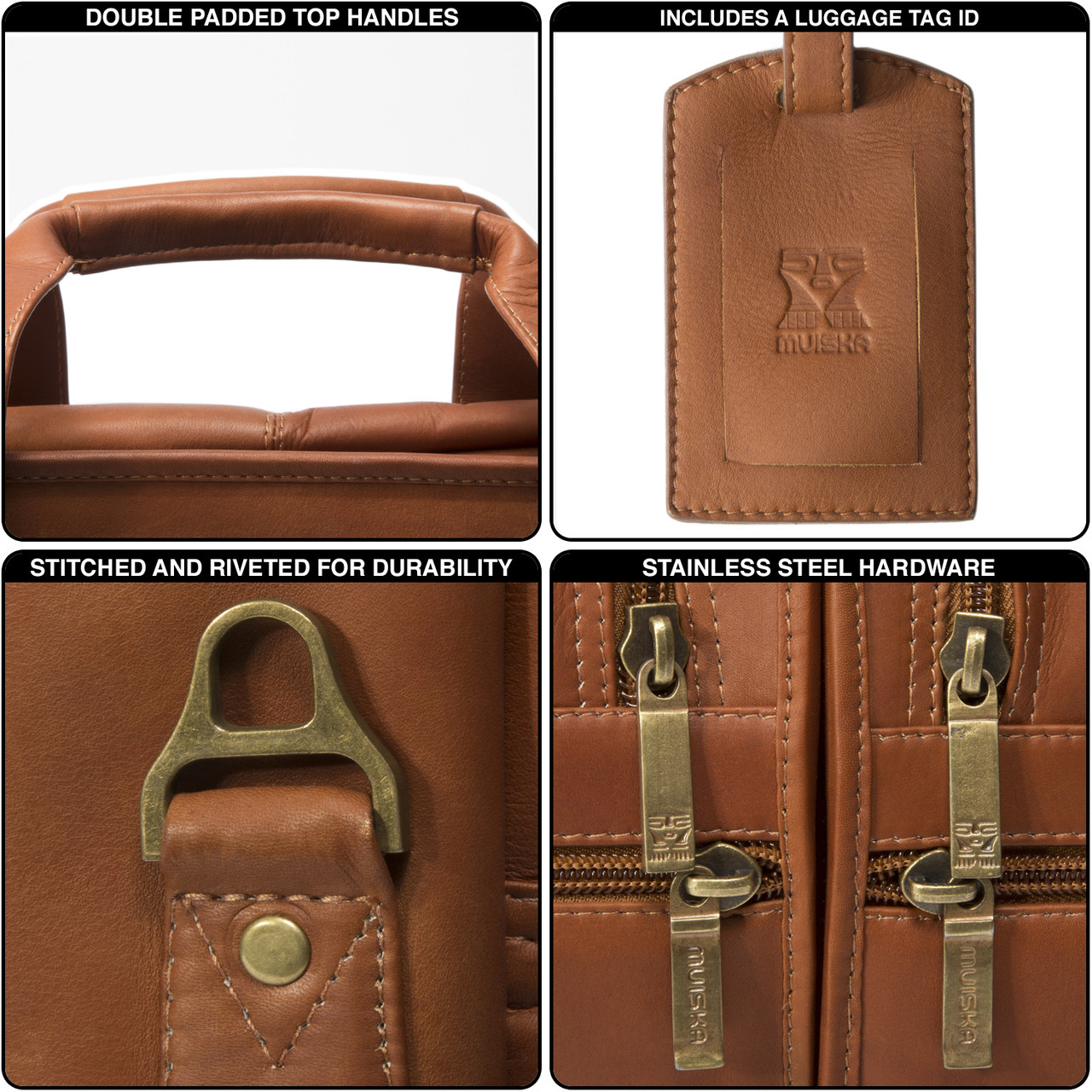 Muiska - New York - Double Compartment Leather Business Case- includes a beautiful leather luggage tag ID