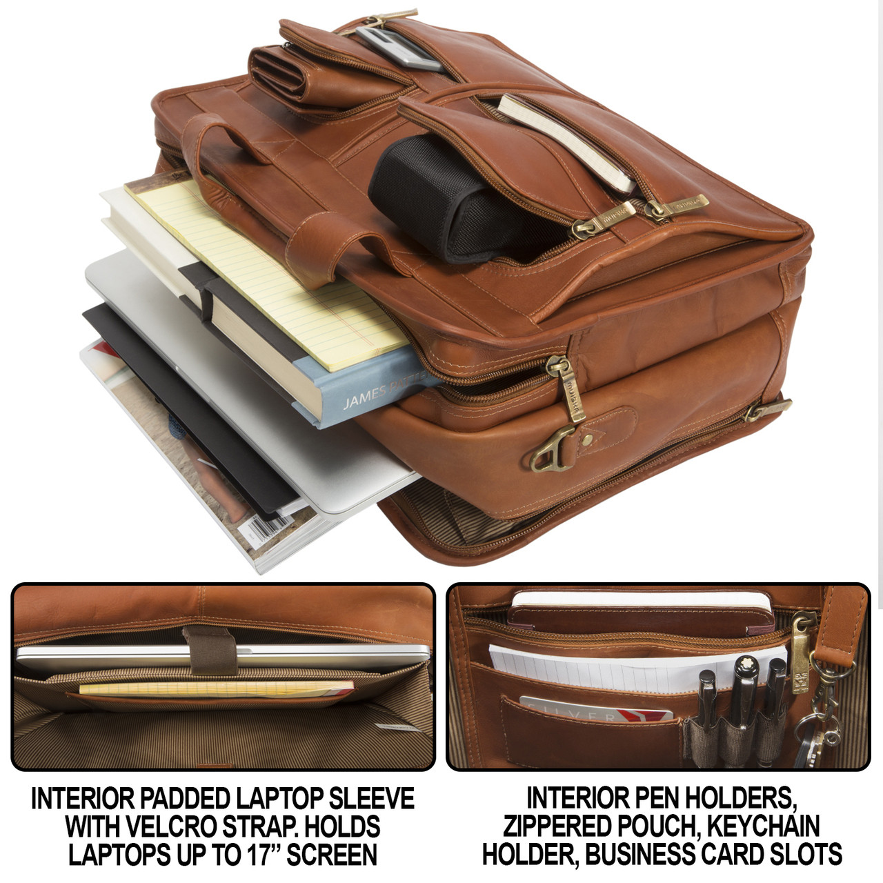 Muiska - New York - Laptop Briefcase - has interior pen holders, zippered pouch, key-chain holder, and business card slot