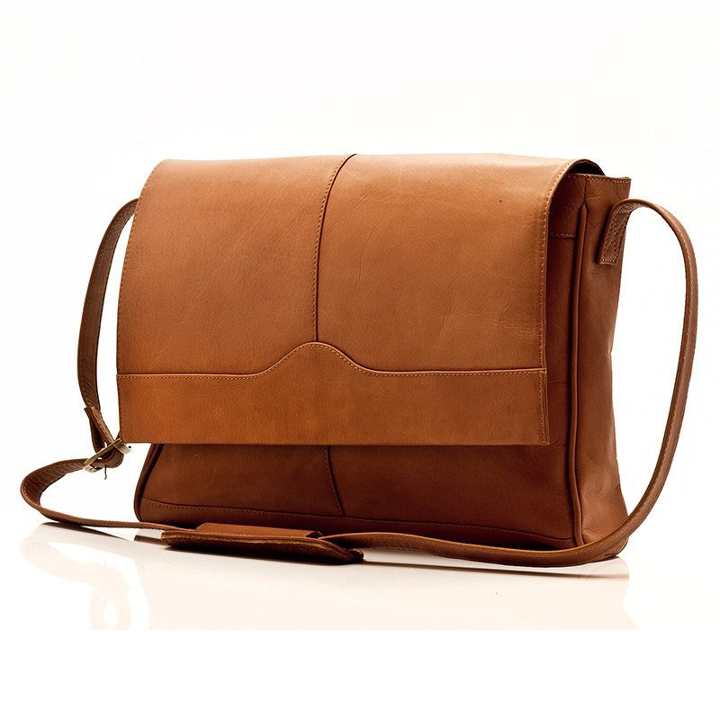 Muiska - Berlin - Classic Messenger Laptop Bag - Front View, Saddle