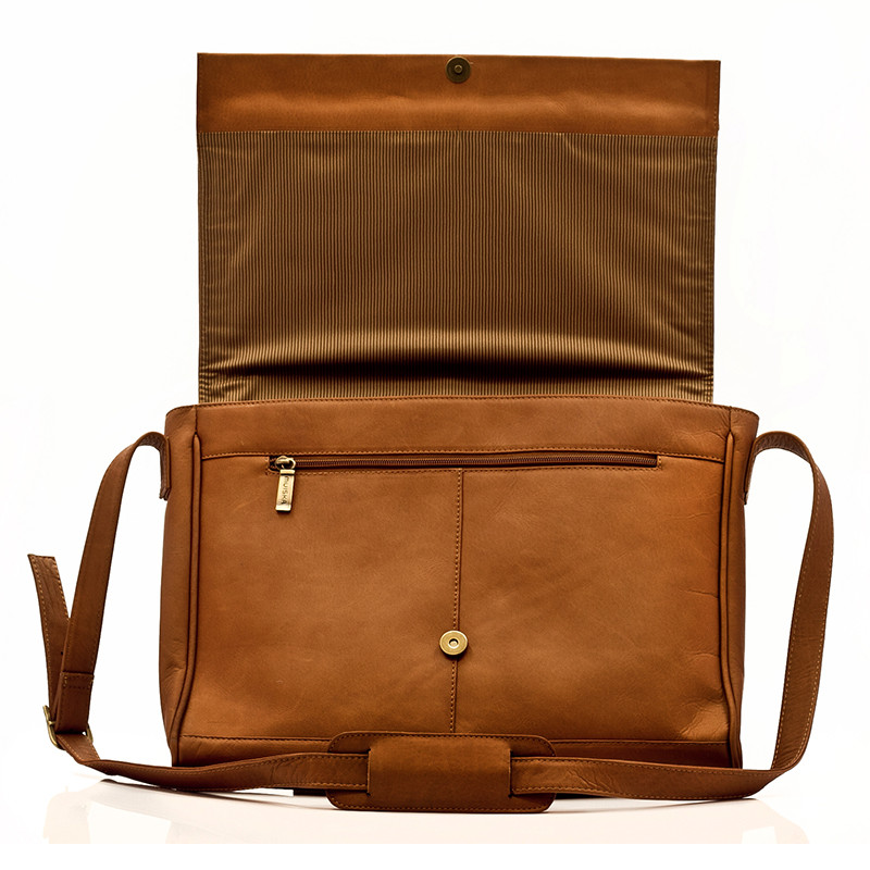 Muiska - Berlin - Leather Laptop Bag - uniquely designed cover flap with zippered compartment underneath