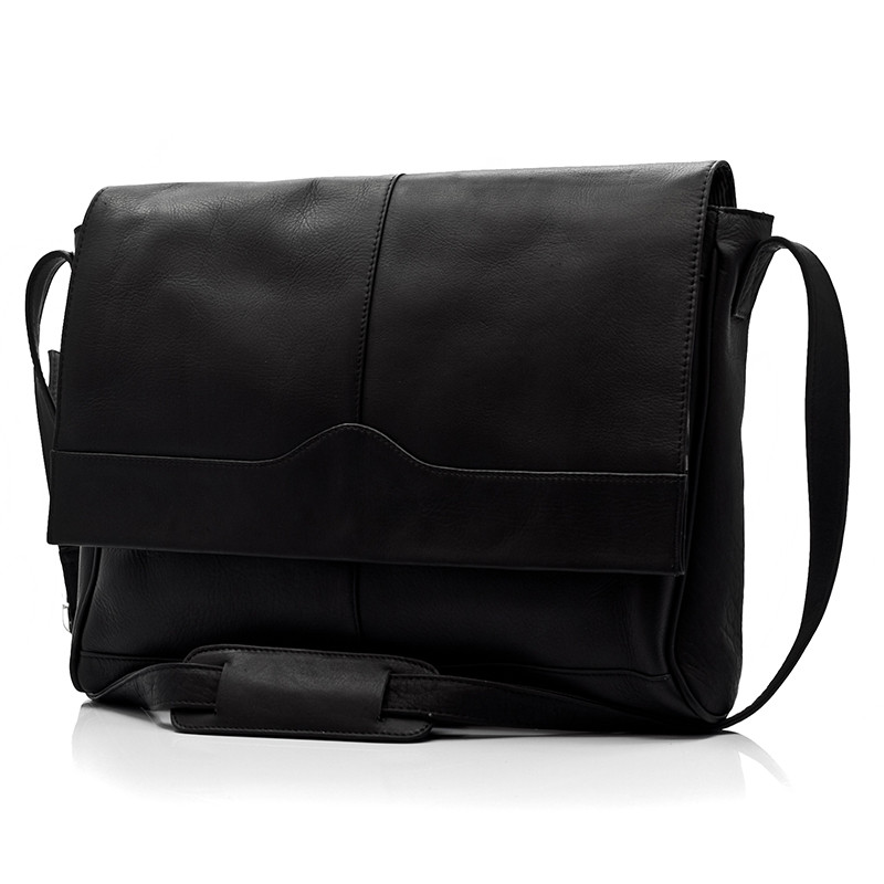 Muiska - Berlin - Classic Messenger Laptop Bag - Front View, Black