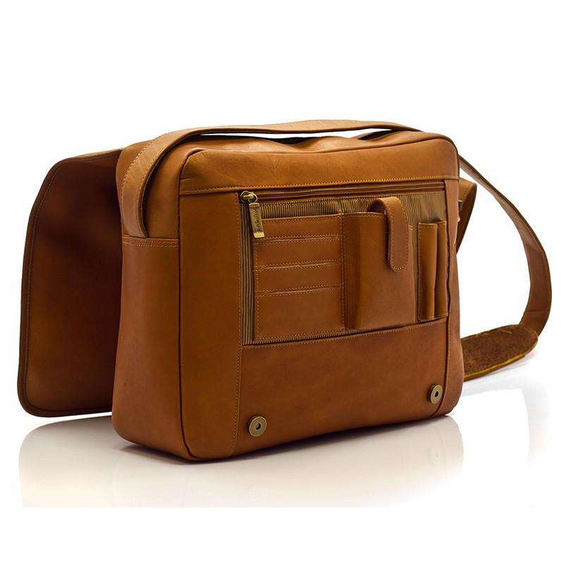 Muiska - Tokyo - Leather Laptop Bag - zippered compartment and cellphone, credit card, and pen holder under front flap