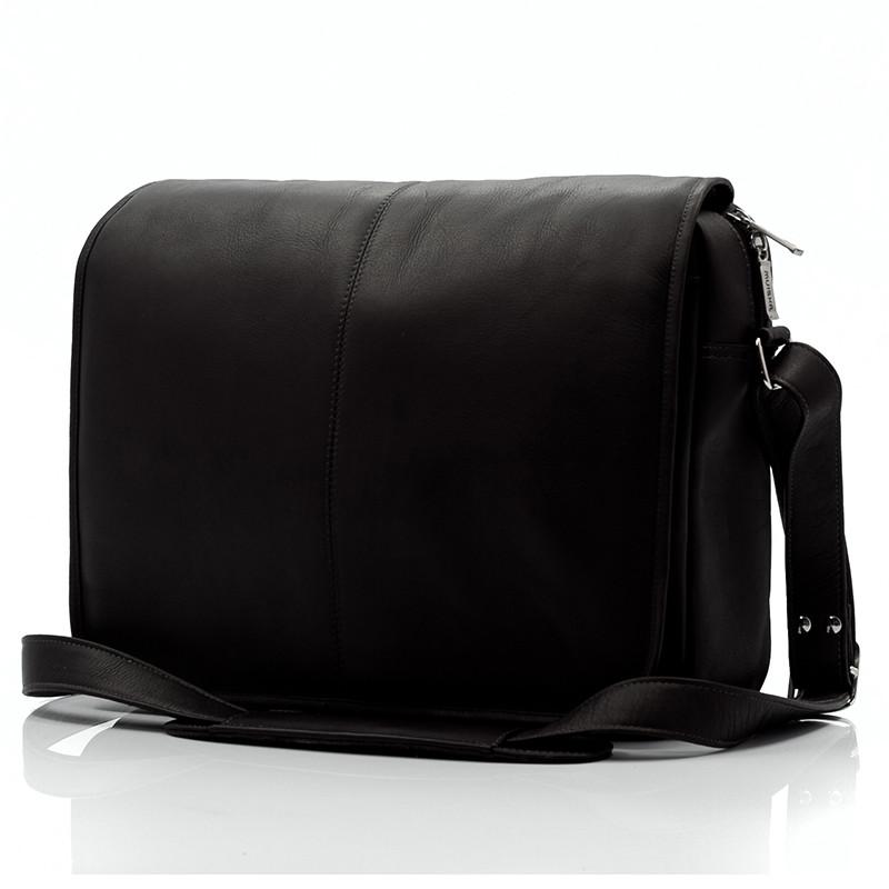 Muiska - Tokyo - Urban Leather Laptop Messenger Bag - Front View, Black