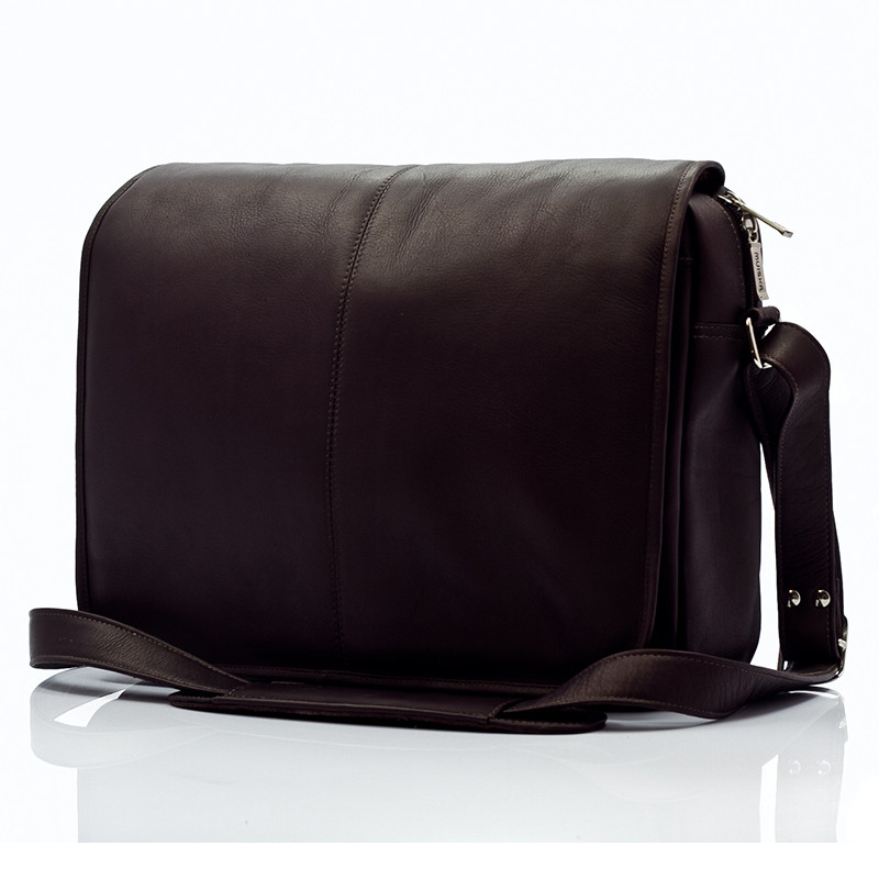 Muiska - Tokyo - Urban Leather Laptop Messenger Bag - Front View, Brown
