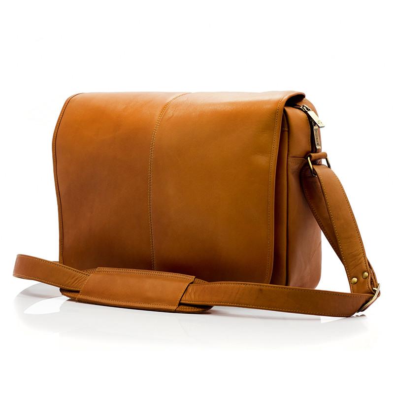 Muiska - Tokyo - Urban Leather Laptop Messenger Bag - Front View, Saddle