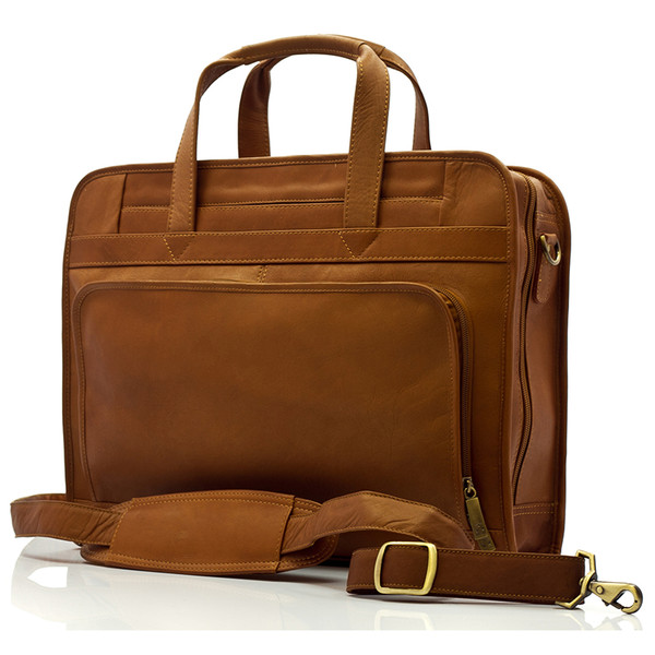 Muiska - Lisbon - Leather Top-Zip 17-inch Laptop Briefcase - Front View, Saddle