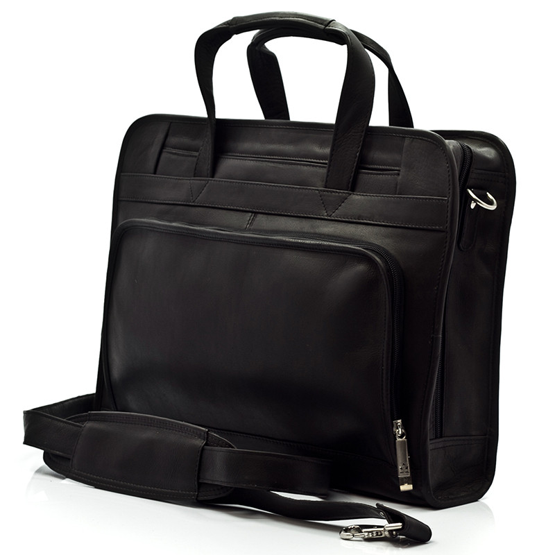 Muiska - Lisbon - Leather Top-Zip 17-inch Laptop Briefcase - Front View, Black