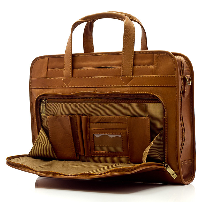"Muiska - Lisbon - Leather 17"" Laptop Brief has a built in organizer in the front zippered compartment"
